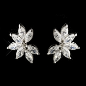 Silver Clear CZ Marquise Crystal Earrings 8992
