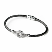 Black Clear CZ Accented Cable Bangle Bracelet 8874