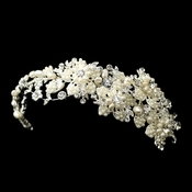 Silver Freshwater Pearl & Rhinestone Side Headpiece w/ End Loops Headpiece 9627