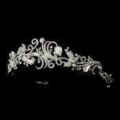 Antique Silver Clear Rhinestone & Crystal Swirl Tiara Headband Headpiece 867