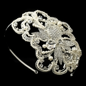Silver Diamond White Pearl & Rhinestone Side Accented Headband Headpiece 9611
