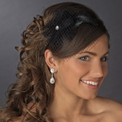 Black Headband with Cage Veil Headpiece 4022