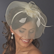 * Ivory Headband with Cage Veil Headpiece 4023 *1 Left*