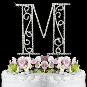 Romanesque ~ Swarovski Crystal Wedding Cake Topper ~ Letter M