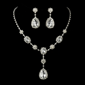 Silver Clear Stone Floral Necklace & Earrings Bridal Jewelry Set 12053