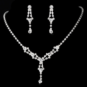 * Necklace Earring Set 7581 Silver Clear