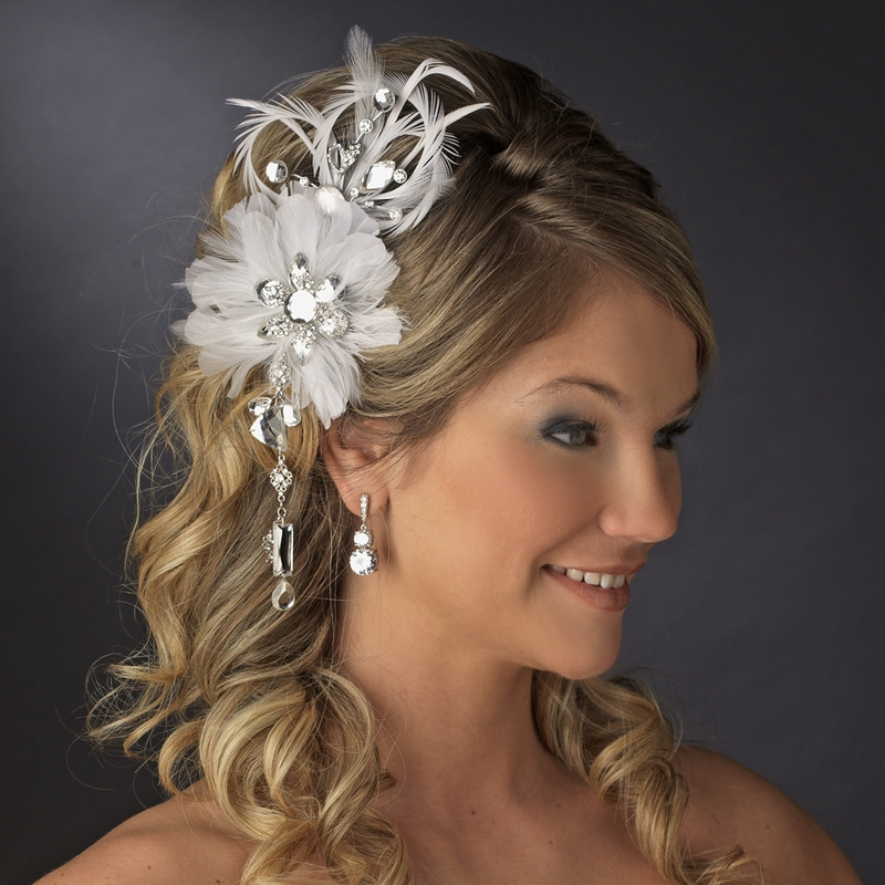 * Vintage Bridal Feather Hair Fascinator With Dangling