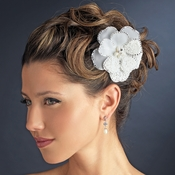 Stunning Modern Unique Flower Hair Clip / Brooch 41 Adorn in Rhinestones Silver Ivory