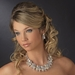 Silver CZ & Pearl Necklace Earring Set 1268