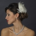 * Silver Ivory Feather Fascinator Hair Clip 1138