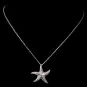 Antique Silver Rhodium Clear CZ Pave Crystal Starfish Necklace 6340