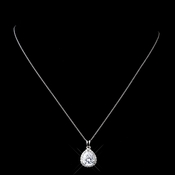 Solid 925 Sterling Silver CZ Crystal Pendent Teardrop Necklace 9990