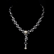 Silver Ivory Pearl Drop & Clear CZ Stone Necklace 9955