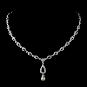 Silver Ivory Pearl & Clear CZ Stone Chain Necklace 8763