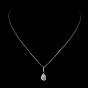 Silver Clear CZ Crystal Tear Drop Necklace 8786