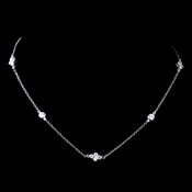 Antique Silver Rhodium Clear CZ Chain Necklace 8572