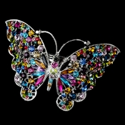 Silver Multi Mix Color Rhinestone Butterfly Barrette 5090 XXL