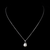 Silver Ivory Pearl & Clear Rhinestone Dangle Drop Necklace 8788