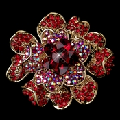 Gold Two Tone Red AB Flower Brooch 8779