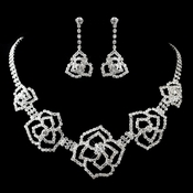 Silver Clear Rhinestone Rose Necklace & Earrings Jewelry Set 12763**Discontinued***