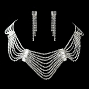 Silver Clear Rhinestone & Banquette Necklace & Earrings Jewelry Set 13243