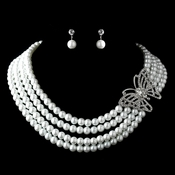 Antique Silver White Pearl & Rhinestone Butterfly Necklace & Earrings Jewelry Set 13330