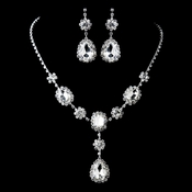 Silver Clear Necklace & Earrings Jewelry Set 47338