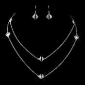Silver Clear Crystal Necklace & Earrings 8727