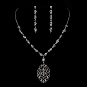 Silver Clear Austrian Crystal & Rhinestone Necklace & Earrings 8738