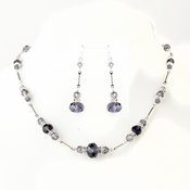 Silver Amethyst Crystal & Clear Rhinestone Necklace & Earrings 8741