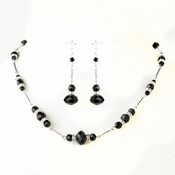 Silver Black Austrian Crystal & Oval Rhinestone Necklace & Earrings Bridal Jewelry Set 8741