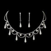 Silver White Pearl & Clear Rhinestone Necklace & Earrings Bridal Jewelry Set 10914
