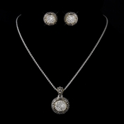 Antique Silver Clear CZ Pendant Necklace & Earrings Jewelry Set 813