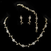 Gold Clear Rhinestone Floral Necklace & Earrings Jewelry Set 385