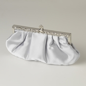 Silver Satin Evening Bag 309 with Rhinestone Accented Vintage Frame
