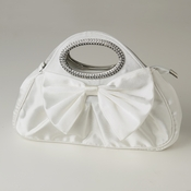 White Satin Evening Bag 311 with Rhinestone Accented Handles