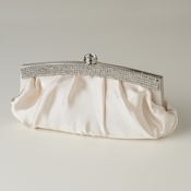 Champagne Satin Evening Bag 322 with Crystal Trim Accent & Closure, Silver Shoulder Strap
