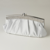 Silver Satin Evening Bag 322 with Crystal Trim Accent & Closure, Silver Shoulder Strap