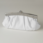 White Satin Evening Bag 322 with Crystal Trim Accent & Closure, Silver Shoulder Strap
