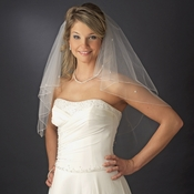 Double Tier Elblow Length Veil with Swarovski & Pearl Flower Accents & Pencil Edge 5000