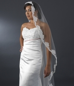 Single Layer Cathedral Length Veil with Floral Pearl Embroidery Edge 2014