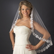 Intricate Single Layer Veil with Flower Embroidery Edge in Fingertip Length 591