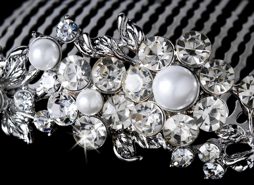 Marvelous Silver Floral Bridal Comb w/ Clear Rhinestones & White Pearls 8280