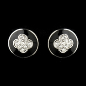 Silver Designer Inspired Black and Silver Crystal Earrings 8728