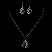 Silver Clear CZ Crystal Necklace & Earrings Jewelry Set 8787