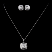 Solid 925 Sterling Silver Clear CZ Crystal Square Pave Pendent Drop Necklace & Earrings Jewelry Set 9989