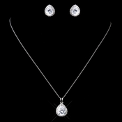 Solid 925 Sterling Silver Clear CZ Crystal Teardrop Earrings 9990 **Necklace Discontinued**
