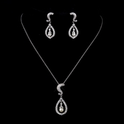 Silver Clear CZ Stone & Pearl Necklace & Earrings 9255
