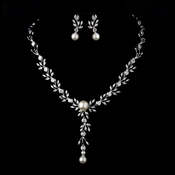 Silver Ivory Pearl & Clear CZ Crystal Necklace & Earrings 9955