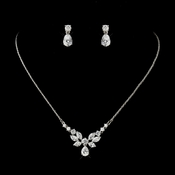 Silver Clear CZ Crystal Floral Necklace & Tear Drop Earrings Bridal Jewelry Set 9951